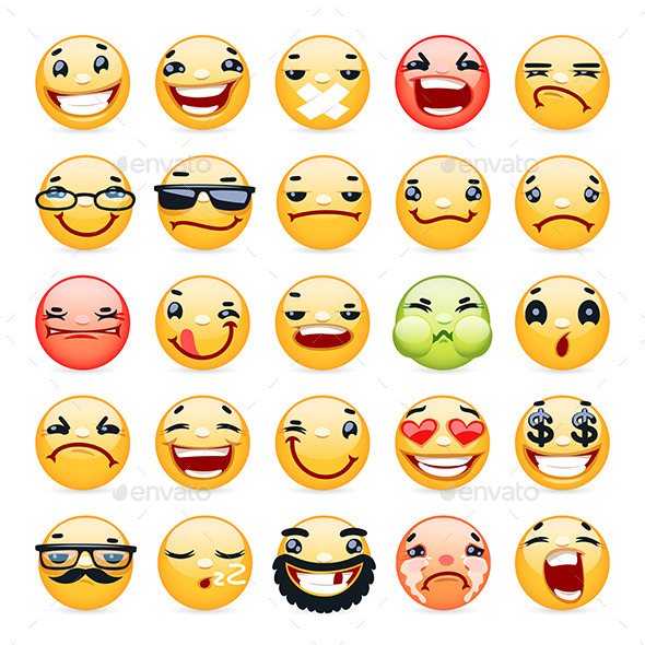 GraphicRiver Cartoon Facial Expression Smile Icons Set 8961151