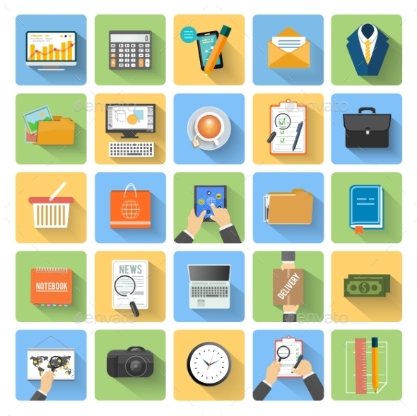 GraphicRiver Business Office and Marketing Items Icons 8972141