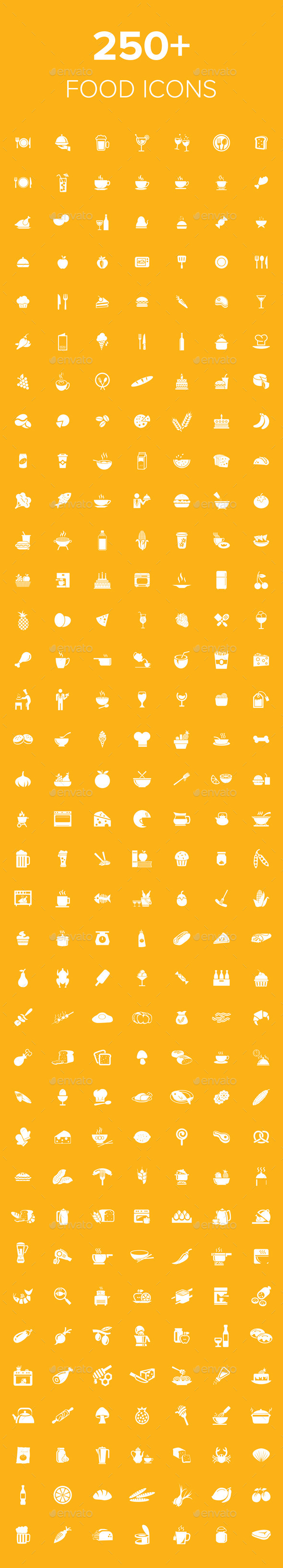 GraphicRiver 250& Food Icons 8972191