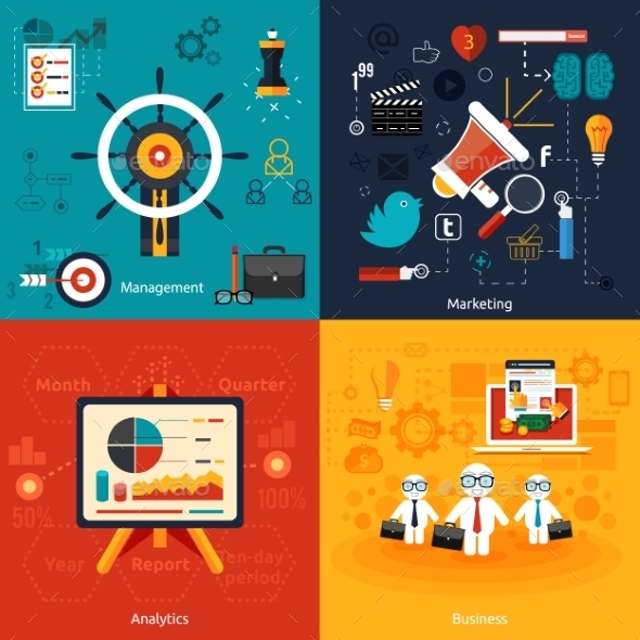 GraphicRiver Icons for Marketing Management and Analytics 8972645