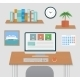Modern Office Interior with Designer Desktop - GraphicRiver Item for Sale