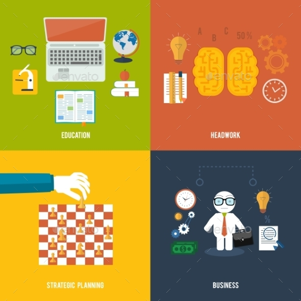 GraphicRiver Icons for Education Headwork Strategy and Business 8973278