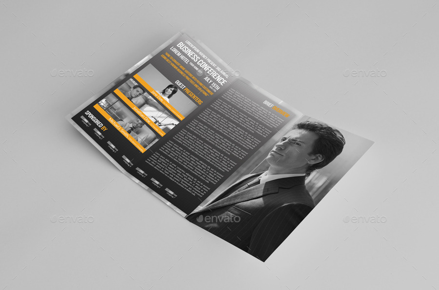 Trifold Business Conference Brochure Template by petumDesign – Conference Brochure Template