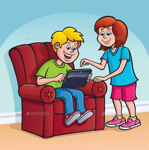 GraphicRiver Boy and Girl Using a Digital Tablet 8974034