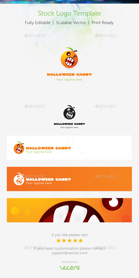 GraphicRiver Hallowen Candy Stock Logo Template 8974213
