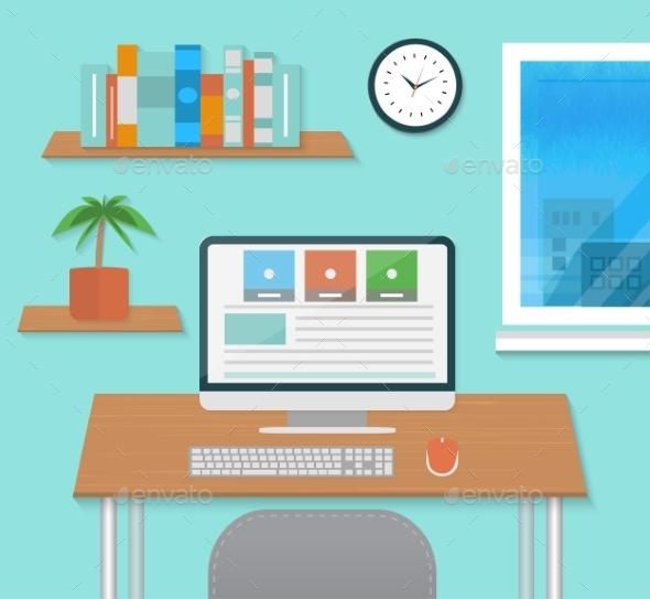GraphicRiver Modern Office Interior with Designer Desktop 8974262