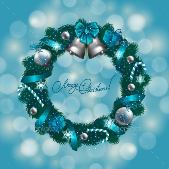 GraphicRiver New Year s Background a Wreath of Fir Branches 8974303
