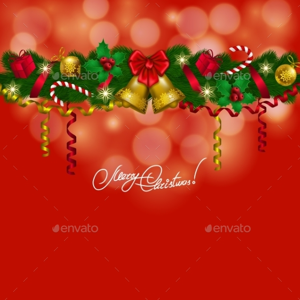GraphicRiver New Year s Background a Garland of Fir Branches 8974306