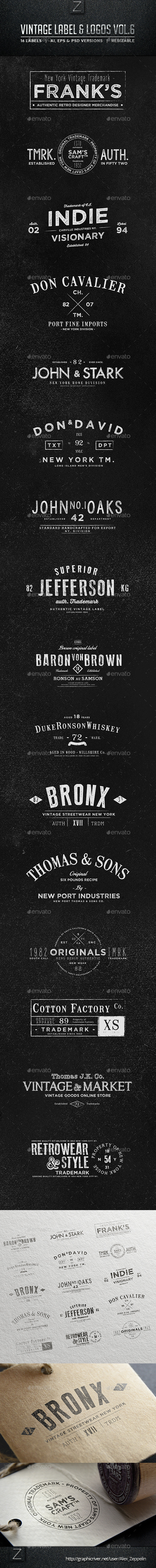 GraphicRiver Vintage Labels & Logos Vol.6 8974308
