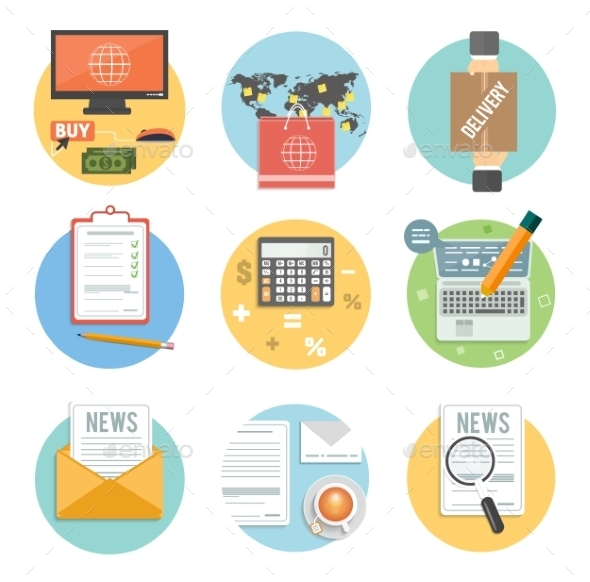 GraphicRiver Business Office and Marketing Items Icons 8974309