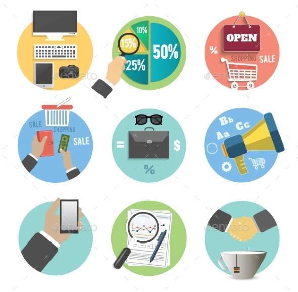 GraphicRiver Set of Business Items Icons 8974310