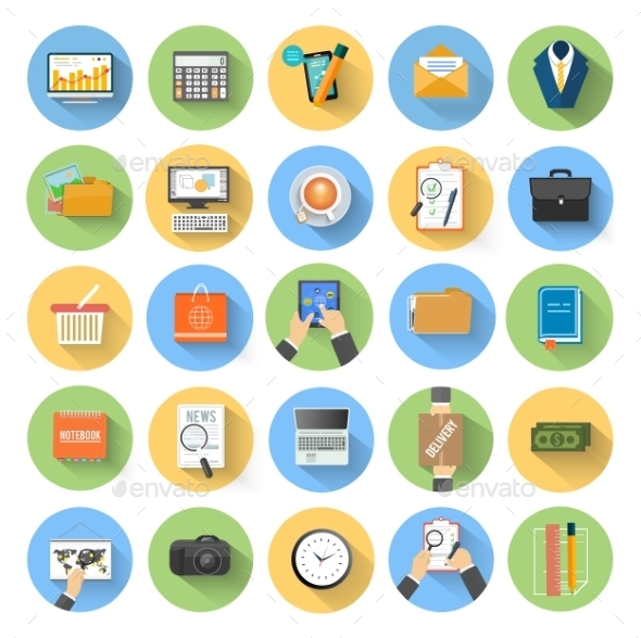 GraphicRiver Business Office and Marketing Items Icons 8974321