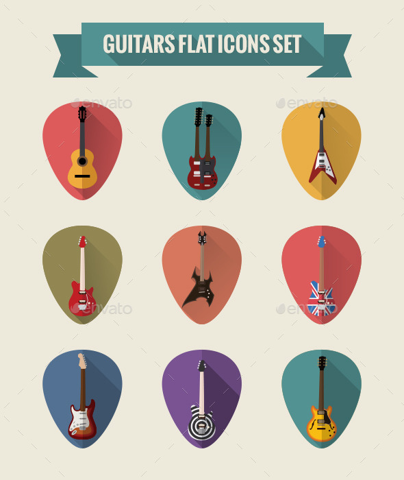GraphicRiver Guitars Flat Icons Set 8974322