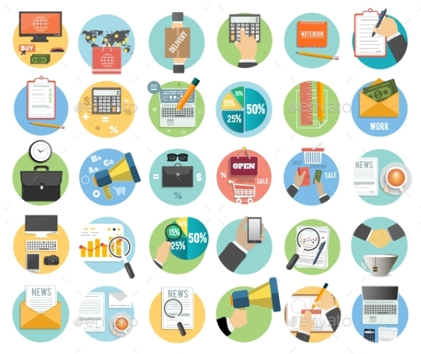 GraphicRiver Set of Business Items Icons 8974342