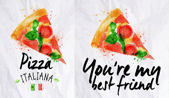 GraphicRiver Pizza Watercolor Poster 8953094