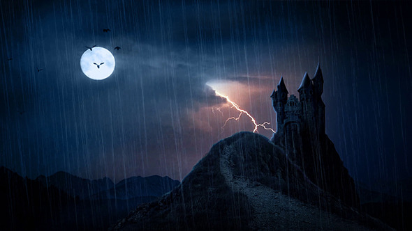 Spooky Castle In Thunderstorm
