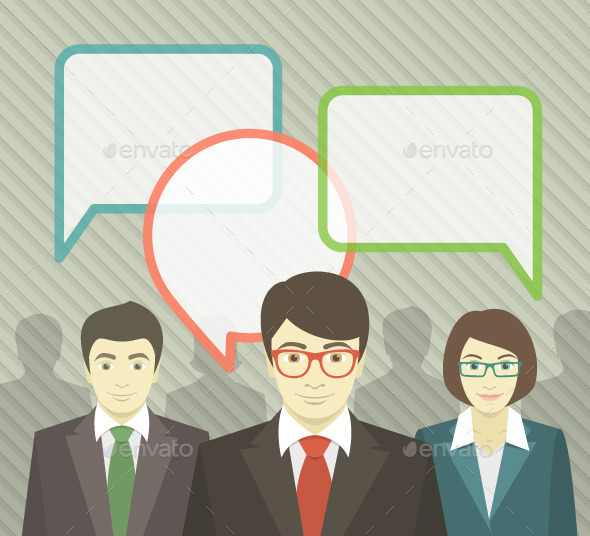GraphicRiver Business Team with Speech Bubbles 8974506