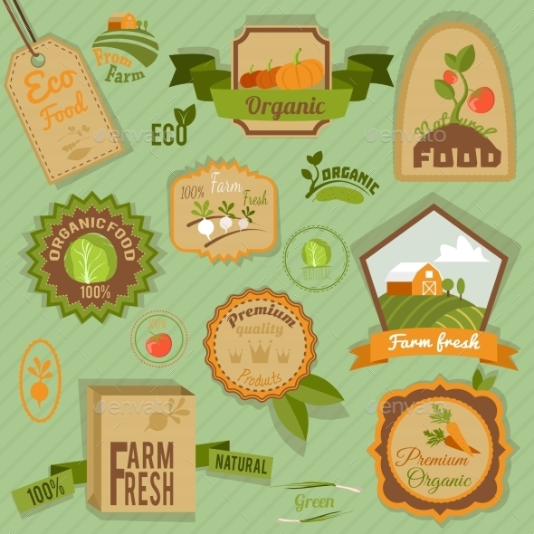 GraphicRiver Eco Labels Vegetables 8974574