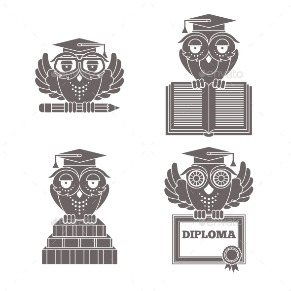 GraphicRiver Owls in Graduation Caps Set 8974582