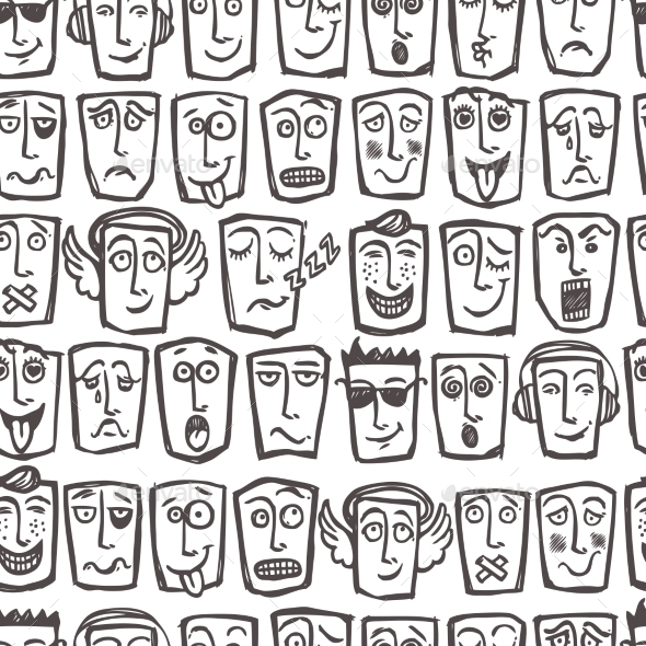 GraphicRiver Sketch Emoticons Seamless Pattern 8974583