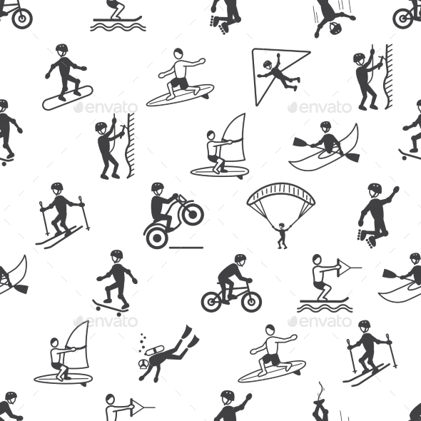 GraphicRiver Extreme Sports Seamless Pattern 8974623