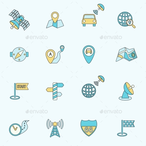 GraphicRiver Mobile Navigation Icons Flat Line 8974626