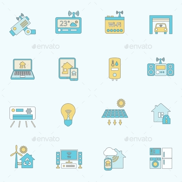 GraphicRiver Smart Home Icons Flat Line 8974628