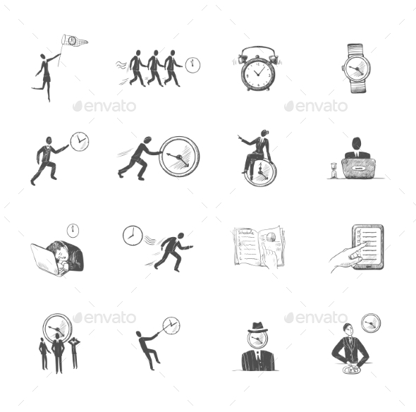 GraphicRiver Time Management Icons Sketch 8974631