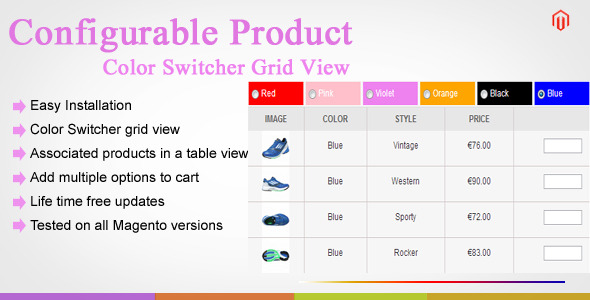 Magento Color Swatch Configurable Product Table