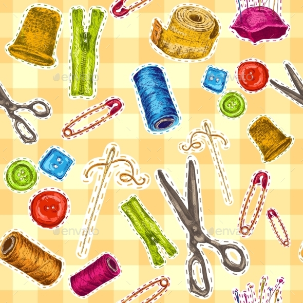 GraphicRiver Sewing Sketch Seamless Pattern 8974672