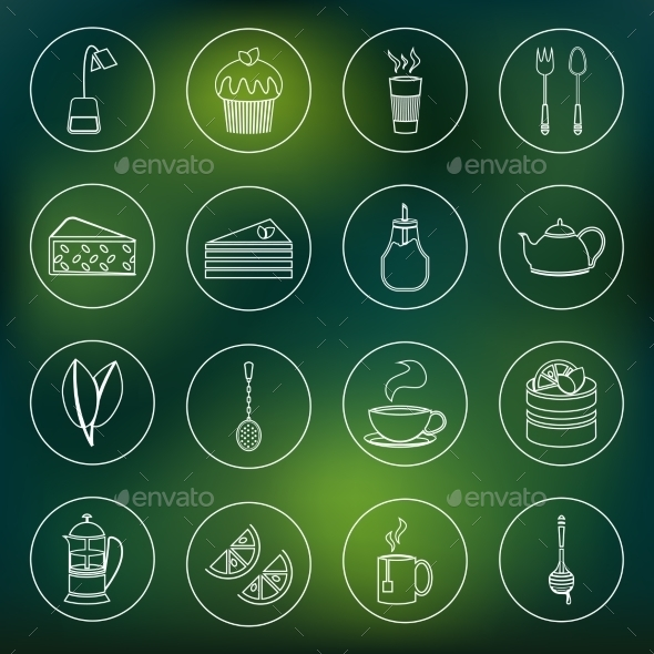 GraphicRiver Tea Icons Set Outline 8974691