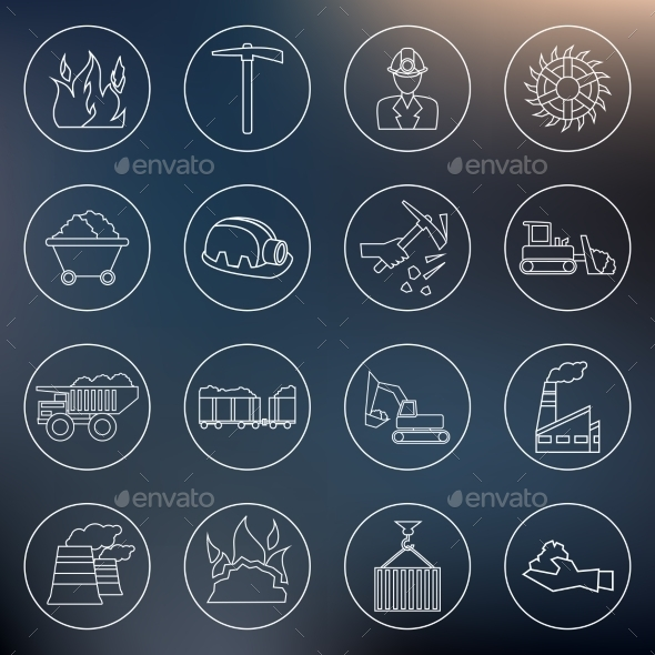 GraphicRiver Coal Industry Icons Outline 8974692