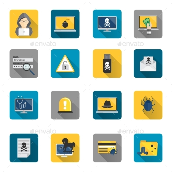 GraphicRiver Hacker Icons Flat Buttons 8974693
