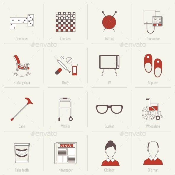 GraphicRiver Pensioners Life Icons Flat Line 8974696