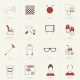 Pensioners Life Icons Flat Line - GraphicRiver Item for Sale