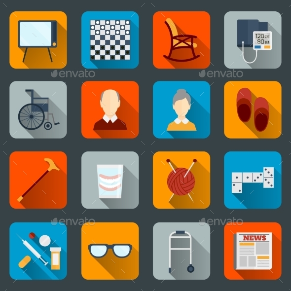 GraphicRiver Pensioners Life Icons Flat 8974697