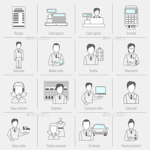 GraphicRiver Set Icons Salesman Flat Line 8974699