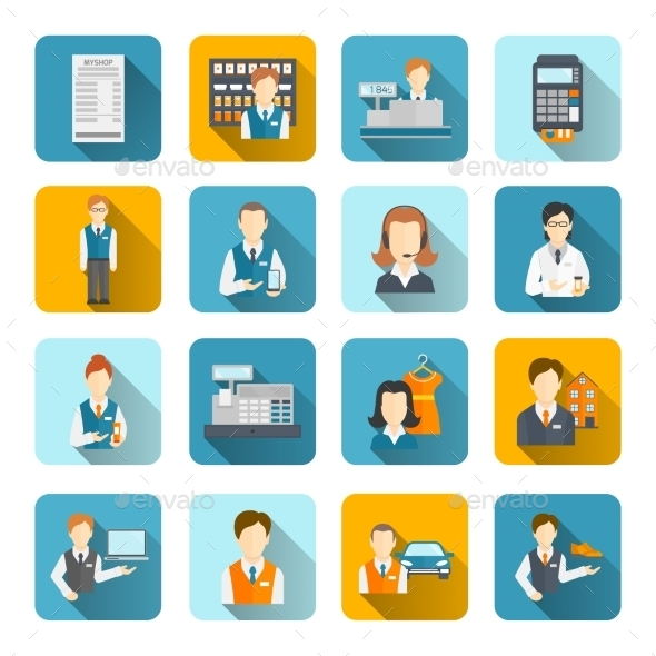 GraphicRiver Salesman Icons Set Flat 8974702