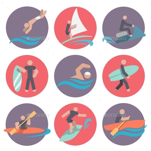 GraphicRiver Water Sports Icons Set Flat 8974706