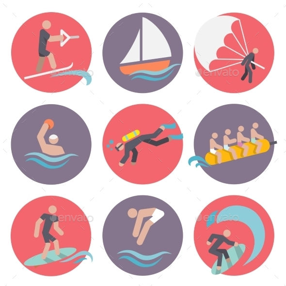 GraphicRiver Water Sports Icons Set Flat 8974708