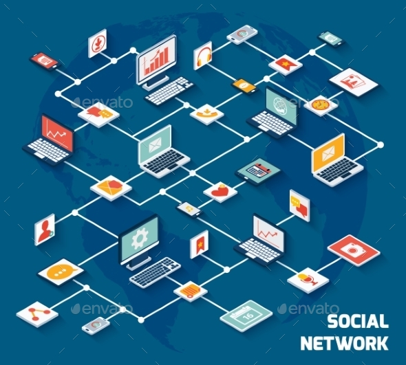 GraphicRiver Social Network Isometric 8974717
