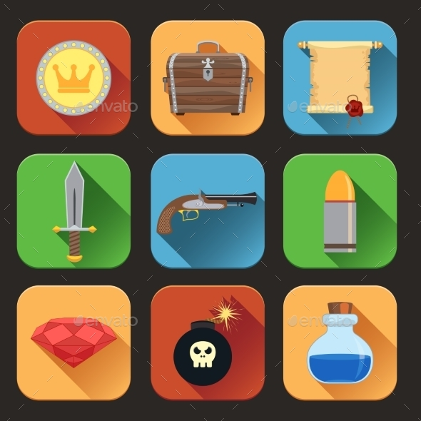 GraphicRiver Game Resources Icons Flat 8974786