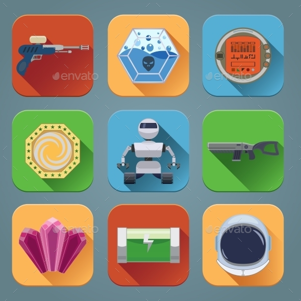 GraphicRiver Space Game Icons Flat 8974793
