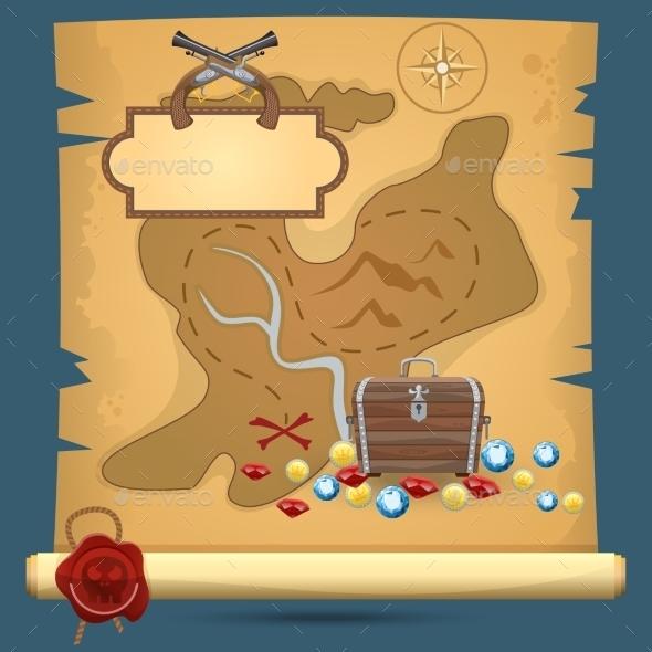GraphicRiver Pirate Treasure Map 8974795