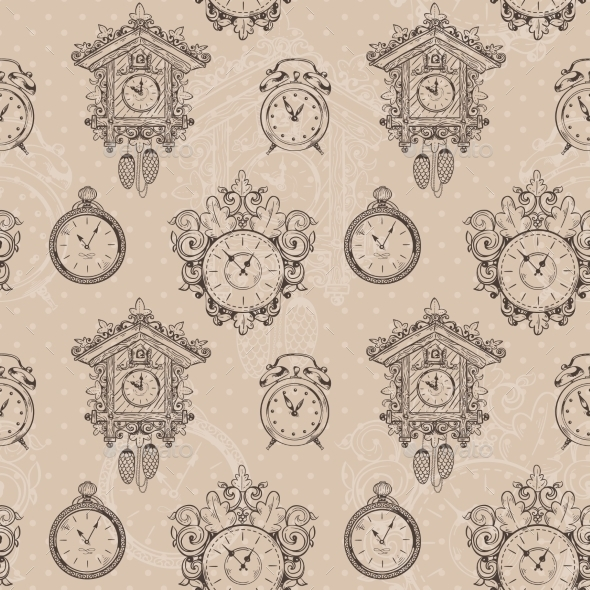 GraphicRiver Old Vintage Clock Seamless Pattern 8974861