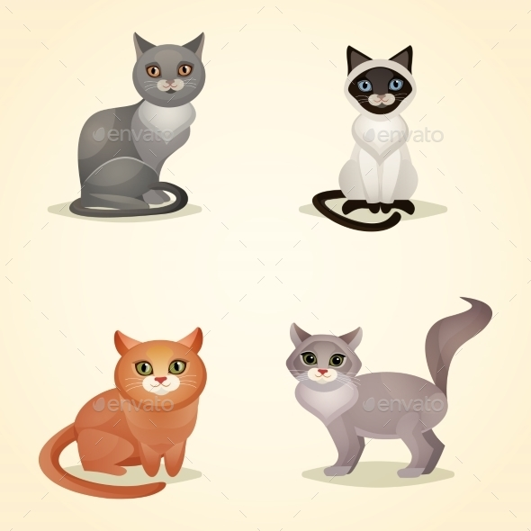 GraphicRiver Cat Set Isolated 8974927