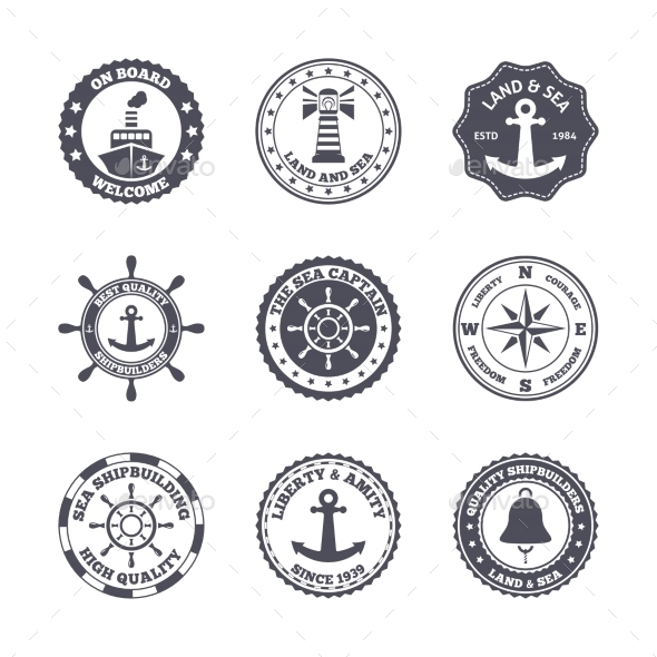 GraphicRiver Sea Port Label Set 8975007