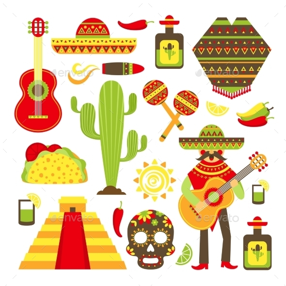 GraphicRiver Mexico Decorative Icons Set 8975017