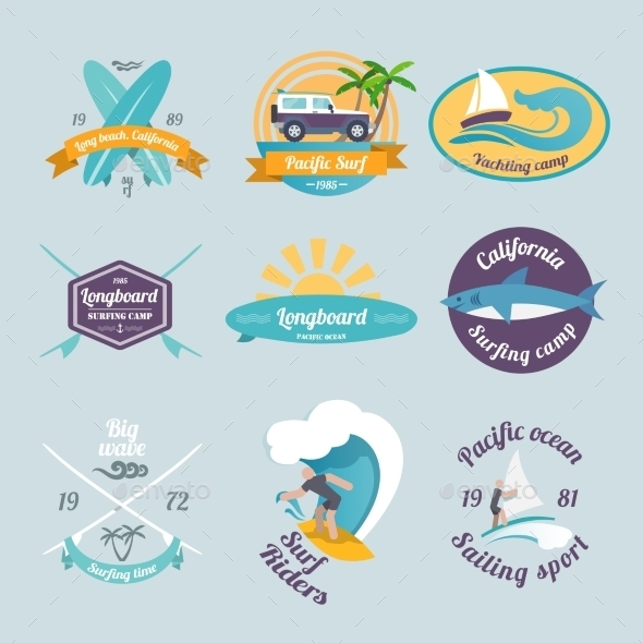 GraphicRiver Surfing Labels Set 8975029