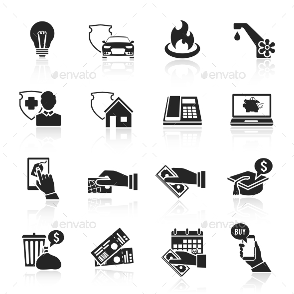 GraphicRiver Pay Bill Icons Black Set 8975032
